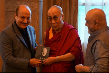 His Holiness the Dalai Lama with Veteran actor Anupam Kher and film producer Pritish Nandy at the World Compassion Day 2012 gathering in Mumbai. Photo/Jeremy Russel/OHHDL