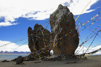 # Sacred Site Decorated With Lungta near a Tibet Lake, Lhasa, Tibet. Photo: Outlook Tibet/file