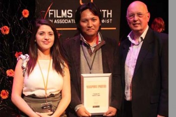 Mr. Lobsang with bex -co ordinator & director john at Manchester film festival, UK, 8th December 2011.  Outlook Tibet