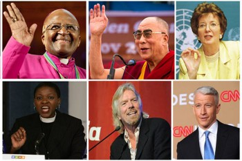 Archbishop Desmond Tutu, His Holiness the Dalai Lama, Mary Robinson, Sir Richard Branson, Reverend Mpho Tutu and CNN's Anderson Cooper. Photo: Media File