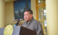 Mr Penpa Tsering, Speaker of the Tibetan Parliament-in-Exile, addressing the 55th Tibetan National Uprising Day in Dharamsala, India, on 10 March 2014. Photo: TPI/Choneyi Sangpo
