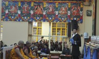 Sikyong Dr. Lobsang Sangay addressing a ceremony on the occasion of the successful completion of his three years in office in Dharamshala on 8 August 2014/DIIR photo