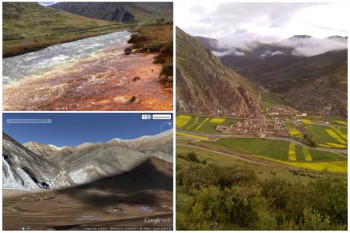 Fig1. River Poisoned by Gyama Mine, Fig2. Dokar Village where the poisoned river flow through, and Fig3. Dokar Village with Gyama Mine Site seen in the background. Photo: Media file
