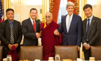 Penpa Tsering, Speaker of the Tibetan Parliament-in-Exile, Senator John Barrasso (R-WY), Senator John Kerry (D-MA), Dr Lobsang Sangay, Sikyong, with His Holiness the Dalai Lama at the US Capitol in Washington DC 2011/Photo/Tenzin Choejor/OHHDL
