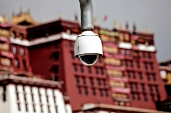 A surveillance camera near Potala Palace in Lhasa, the capital of Tibet. (file photo)