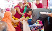 Sikyong Dr Lobsang Sangay, head of the Central Tibetan Administration, making offerings at the start of His Holiness's 78th birthday celebrations at Sera Jey Monastery in Bylakuppe, Karnataka, India on July 6, 2013. Photo/Tenzin Choejor/OHHDL