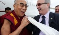 The Dalai Lama was greeted by Richard Moore when he arrived in Londonderry.