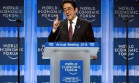 apanese Prime Minister Shinzo Abe delivers his special address at the opening session of the World Economic Forum in Davos on January 22, 2014 (AFP Photo/Eric Piermont)