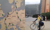 Rinpo standing with his cycle for a solitary cycling rally in Brussels, the capital of the Europe to spread awareness of action for the worsening human rights crisis in Tibet and other is a map of Europe where he will be traveling. Photo: TPI