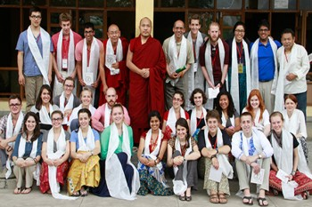 A group of students from Emory University with Gyalwang Karmapa Rinpoche at Gyuto Monastery, Dharamshala, India. Photo: Outlook Tibet