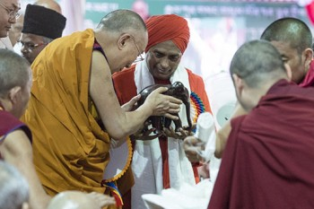 Members of the local community offering His Holiness the Dalai Lama gifts during celebrations honoring his 81st birthday at Drepung Monastery in Mundgod, Karnataka, India on July 6, 2016. Photo/Tenzin Choejor/OHHDL