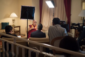 His Holiness the Dalai Lama being interviewed by NHK television in Osaka, Japan on May 9, 2016. Photo/Tenzin Choejor/OHHDL