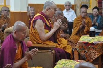His Holiness the Dalai Lama participating in a prayer service with the group of Thai monks at the main temple, Tsuglagkhang, on 21 May 2016. Photo: CTA/DIIR