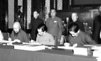 Delegates from the government of Tibet forced to sign on the agreement, May 23, 1951. [File photo]