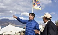 President Dr Lobsang Sangay of Central Tibetan Administration at Pang gong lake, Ladakh on 5 July 2017. Photo @Phende, DIIR