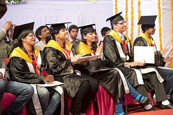 Some of the students who were awarded degrees at the 1st Convocation of the Central University of Himachal Pradesh in Shahpur, HP, India on 28 February 2013. Photo/Tenzin Choejor/OHHDL